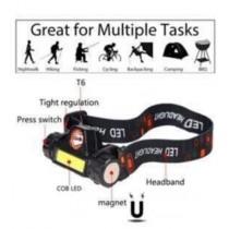 USB Şarjlı Mıknatıslı uzun ışıklı kafa lambası