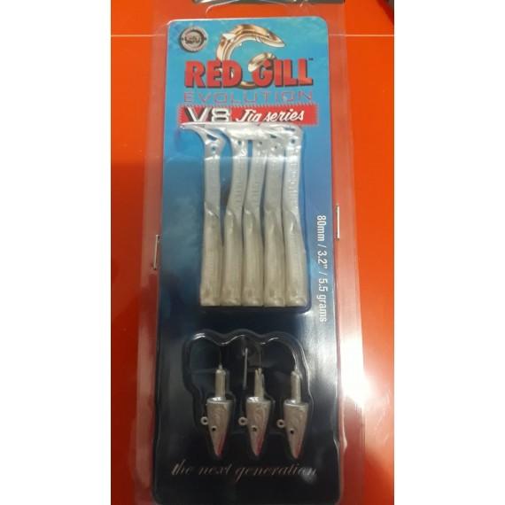 "Redgill V8 Jig Series 3.2"" (8 cm)  5.5 gram Silver Pearl Silikon Yem"