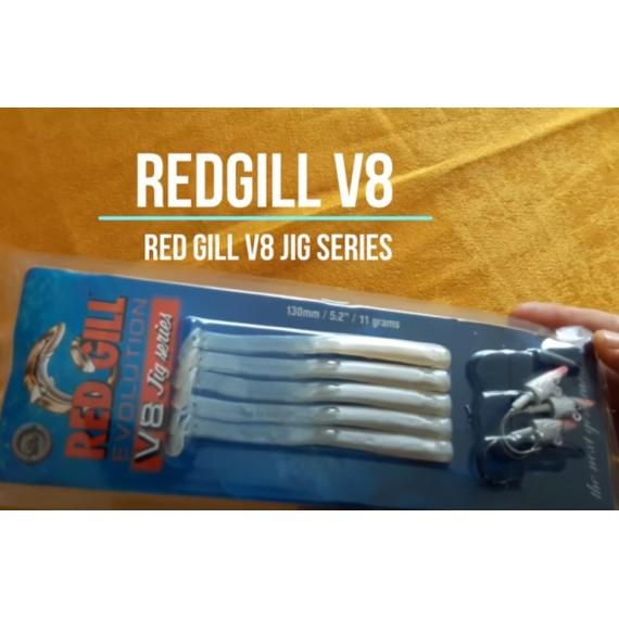 "Redgill V8 Jig Series 5.2"" (13 cm)  11 gram Silver Pearl Silikon Yem"